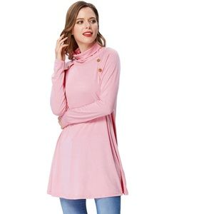 Blush Button Detail Turtleneck Lightweight Sweater